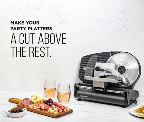 Chefman Stainless Steel Die-Cast Electric Quick Release Meat Slicer - Black Perspective: back