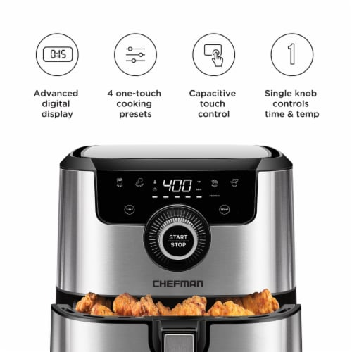 Chefman Square Stainless Steel Air Fryer - Silver Perspective: back