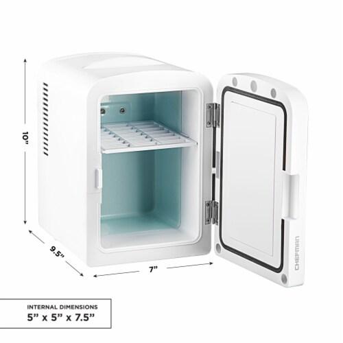 Chefman Portable LED Mirrored Mini Fridge - White Perspective: back