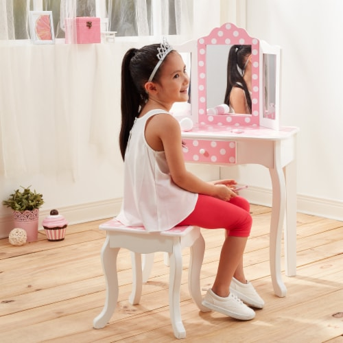 Fantasy Fields Kids Vanity Set Wooden Table with Mirror & Stool Pink TD-11670F Perspective: back