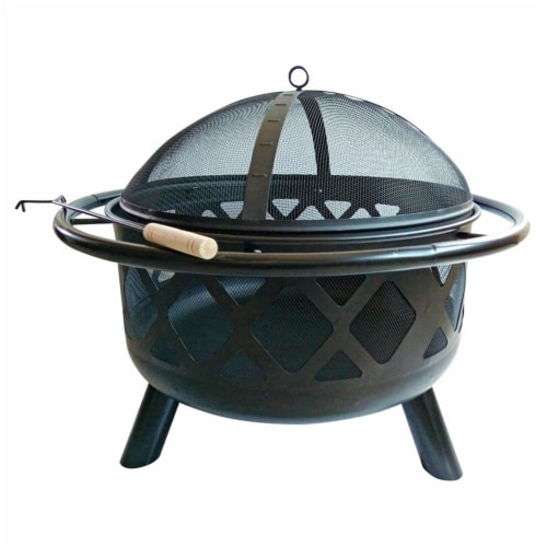 Peaktop Firepit Outdoor Wood Burning Fire Pit For Logs Steel With Cover CU296 Perspective: back