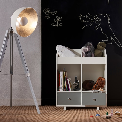 Versanora Wooden Storage Stand Unit 2 Section & Drawers White/Grey VNF-00010 Perspective: back