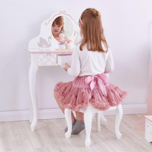Fantasy Fields Swan Lake Girls Wooden Vanity Set & Stool Kids Dress Up TD-12890A Perspective: back