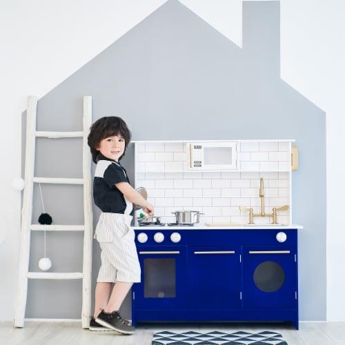Blue Kids Toy Kitchen Wooden Cooker Children Imitation Play TeamsonKidsTD12681B Perspective: back
