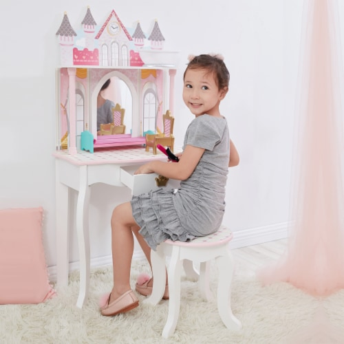 Fantasy Fields Kids Vanity Set Castle Table With Mirror & Stool White TD-12951A Perspective: back