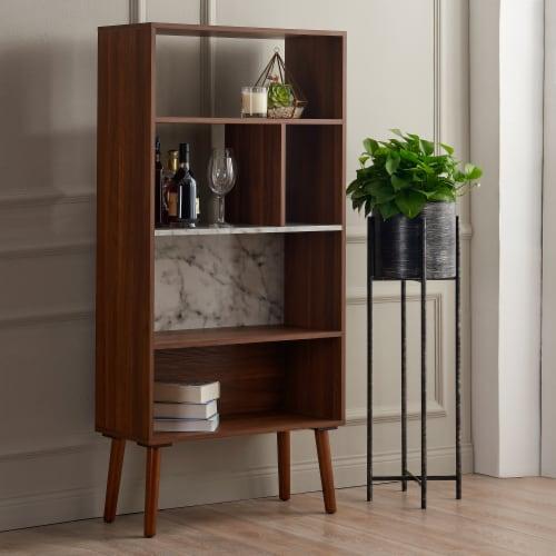 Versanora Wooden Bookcase Bookshelf 4 Tier Faux Marble Walnut Kingston VNF-00078 Perspective: back