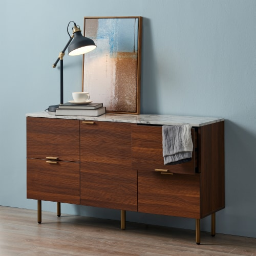 Versanora Wooden Sideboard With Faux Marble Top & Walnut Legs Ashton VNF-00081 Perspective: back