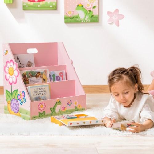 Kids Bookcase Childrens Magazine Rack Tidy Magic Garden Fantasy Fields TD-13142A Perspective: back