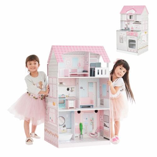 Teamson Kids 'Wonderland' Children's 2 in 1 Doll House & Play Kitchen TD-12515P Perspective: back