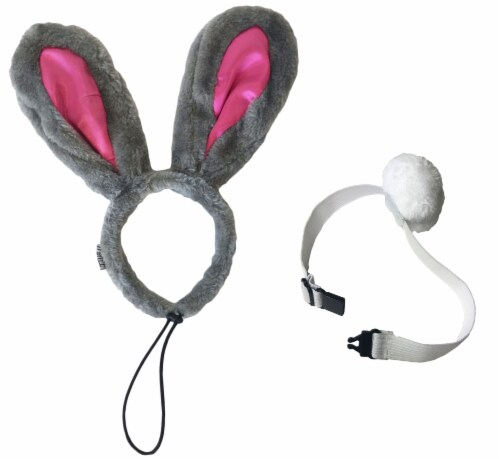 Midlee Easter Bunny Gray & Pink Rabbit Ears for Large Dogs Headband With Tail Perspective: back