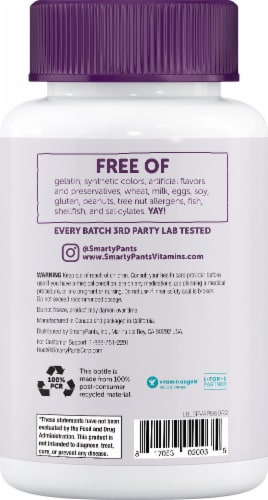 SmartyPants Adult Probiotic and Prebiotic Immunity Formula Blueberry Gummies Perspective: back