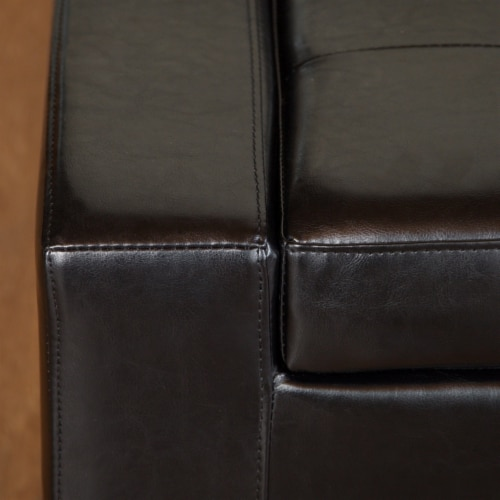 Rothwell Black Leather Storage Ottoman Bench Perspective: back