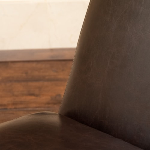 Cleveland Brown Leather Chaise Lounge Chair Perspective: back