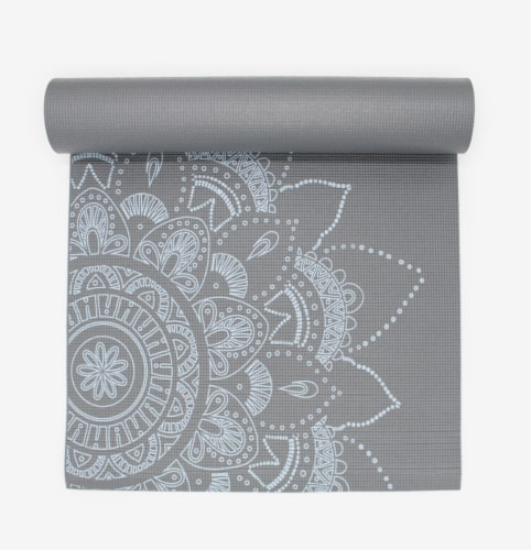 Oak and Reed Extra-Thick Non-Slip Yoga Mat, Grey Floral Medallion Perspective: back