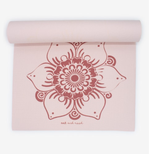 Oak and Reed Extra-Thick Non-Slip Yoga Mat, Blush Lotus Perspective: back