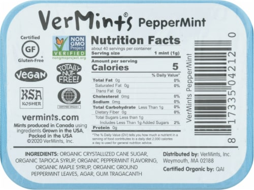 Vermints Organic Breath Mints Peppermint Perspective: back