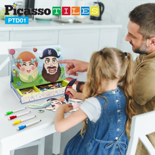 PicassoTiles 102 Piece Magnetic Puzzle Faceboard Game Board Activity Book PTD01 Perspective: back