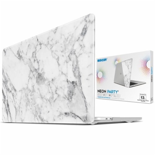 iBenzer Laptop Case for MacBook Pro Touch Bar & Non-Touch Bar - White Marble Perspective: back