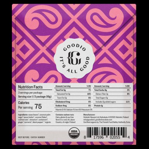 Goodio Chai Craft Chocolate Perspective: back