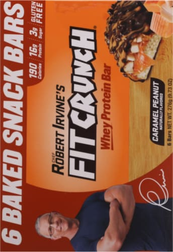 Robert Irvine's Fit Crunch Caramel Peanut Whey Protein Bars Perspective: back
