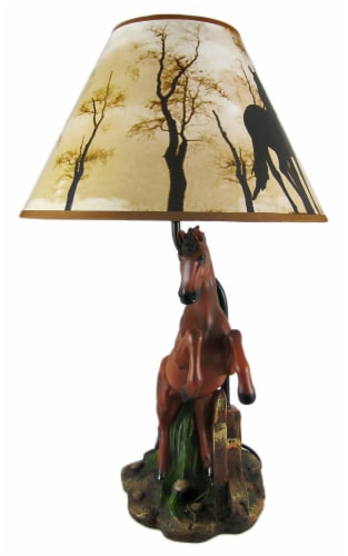 Brown Stallion Horse Table Lamp W/ Nature Print Shade Perspective: back