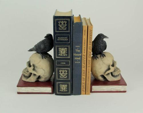 Evil Omen Raven On Skull Perch Decorative Bookend Set Perspective: back