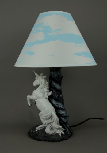 White Rearing Unicorn Table Lamp with Cloud Print Shade Perspective: back