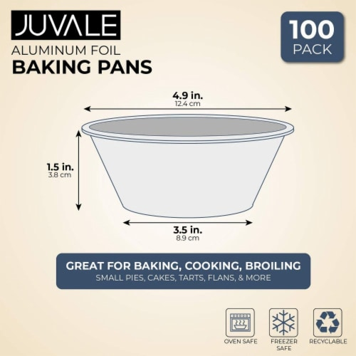 Aluminum Foil Pie Pans 100-Piece Round Disposable Tin Pans for Baking, Roasting Perspective: back