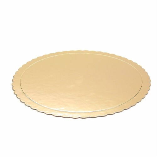 "12-Pack Round Cake Boards Cardboard Gold Scalloped Circle Base, 10"" Diameter Perspective: back"