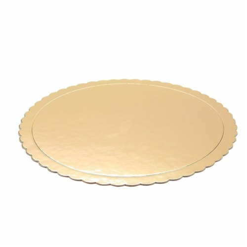 12-Pack Round Cake Boards, Cardboard Scalloped Cake Circle Bases, 10 Inches Diameter, Gold Perspective: back