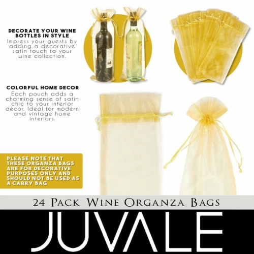 24-Pack Gold Satin Drawstring Wine Wrapping Bags Bottle Gift Bag for Display Perspective: back