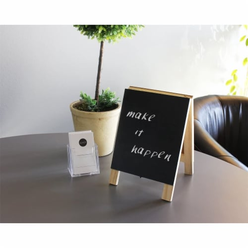Juvale Small Double Sided Easel, Black Chalkboard & White Dry Erase Boards (5.5 x 7.8 x 1 in) Perspective: back
