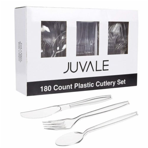 Juvale 80-Piece Clear Disposable Plastic Cutlery Set, BPA Free and Food Grade Perspective: back