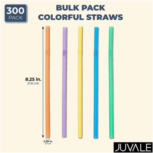 300ct Flexible Plastic Bendy Drinking Straws, Multiple Colors Perspective: back
