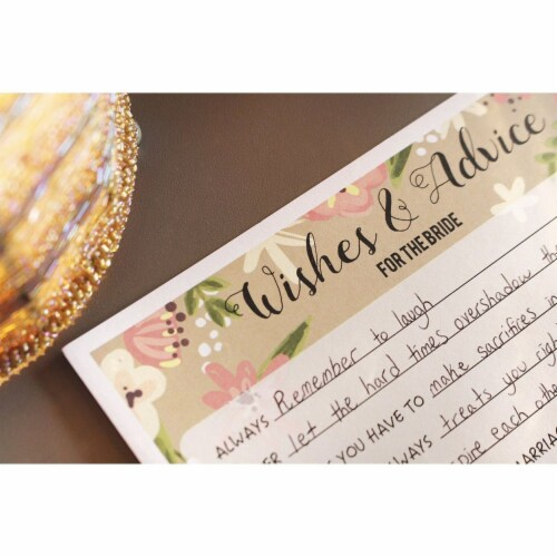 50 Sheet Floral  Wedding Game Cards Marriage Advice for Bridal Shower, Pink Perspective: back