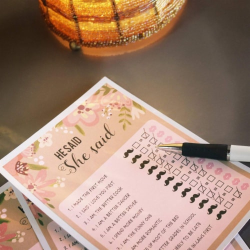 50 Sheet Floral Wedding Game Cards for Bachelorette Party and Wedding, Pink Perspective: back