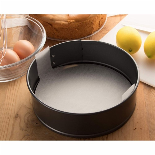 """100 Round Parchment Paper Cake Pan Liners for Baking w/ Easy Lift Tabs 6"""" White Perspective: back"""