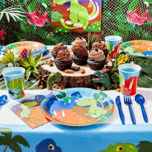 Dinosaur Party Dinnerware Set, Plates, Cutlery, Cups, and Napkins (Serves 24, 144 Pieces) Perspective: back