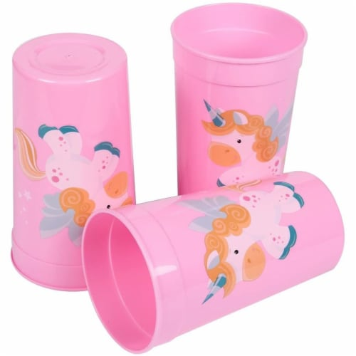 Pink Plastic Tumbler Cups for Unicorn Party (16 oz, 16 Pack) Perspective: back
