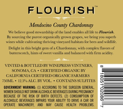 Flourish Chardonnay Perspective: back
