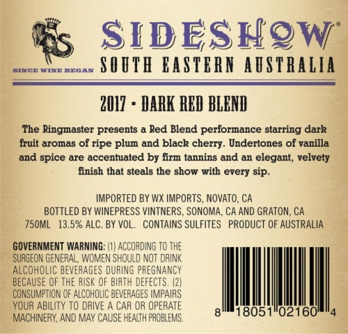 Sideshow The Ring Master Aussie Dark Red Wine Perspective: back