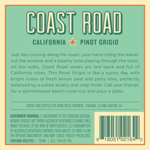 Coast Road Pinot Grigio Perspective: back