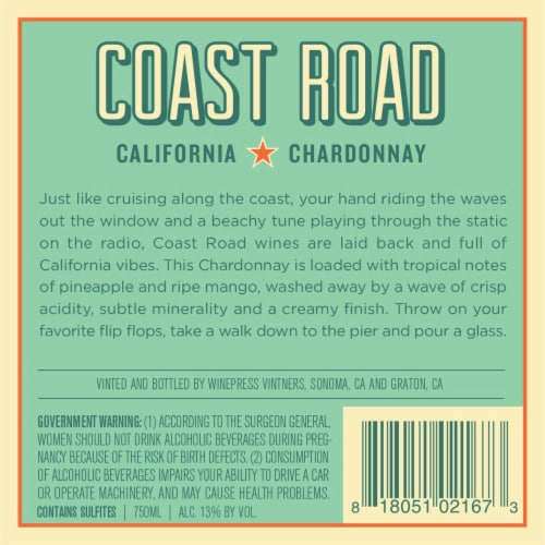 Coast Road Chardonnay Perspective: back