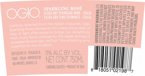 Ogio Wines Sparkling Rose Perspective: back