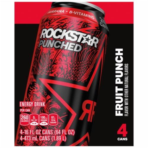 Rockstar® Punched Fruit Punch Flavor Energy Drink Perspective: back