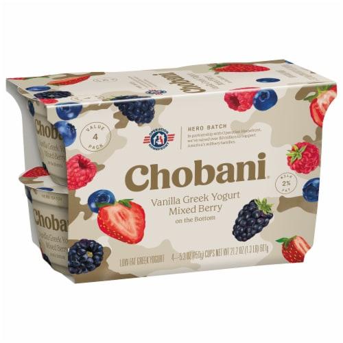 Chobani Mixed Berry on the Bottom Low Fat Vanilla Greek Yogurt Perspective: back