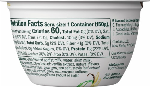 Chobani® with Zero Surgar Vanilla Greek Yogurt Perspective: back