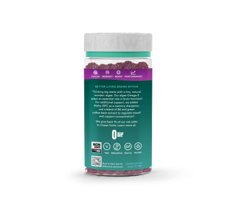 iWi Elderberry Omega - + Alpha-GPC and B6 Brain Gummies Perspective: back