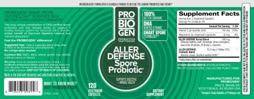 Probiogen® Aller Defense Spore Probiotic Vegetarian Capsules Perspective: back