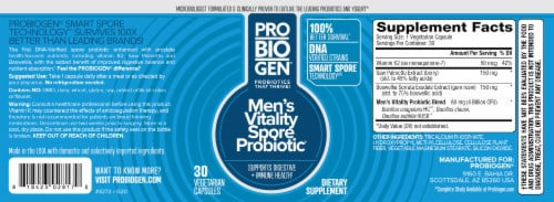 Probiogen® Men's Vitality Spore Probiotic Vegetarian Capsules Perspective: back